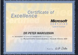 Urkunde für Dr. Brimborius alias: DR PETER MARCUSSON has successfully completed requirements to be recognized as a Microsoft Certified Professional, signed by Bill Gates